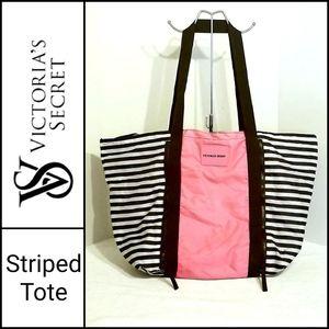 Victoria's Secret Black, White & Pink Striped Tote